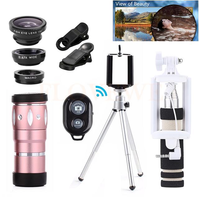 Teléfono Lente de 10X de Zoom de Teleobjetivo Telescopio + Trípode + ojo de Pez de Ancho lentes macro gran angular para iphone 6 6 s 7 xiaomi samsung meizu