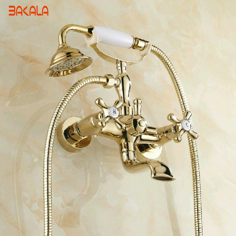 Good Quality Solid Brass Luxury Rainfall Golden Shower Bath Set Faucets Wall Mounted Shower Mixer Faucets  GZ-8012K