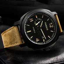 44mm parnis Black Dial PVD Sapphire Crystal 2019 New Fashion Luminous Marks 21 jewels Miyota Automatic Mechanical men's Watch цена и фото