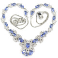 Fashion Jewelry Rich Blue Violet Tanzanite, White CZ Created SheCrown Ladies   Silver Necklace 18.5 inch 41x30mm