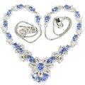 Moda jóias azul rico violet tanzanite, branco CZ Criado SheCrown Senhoras Colar De Prata de 18.5 polegada 41x30mm