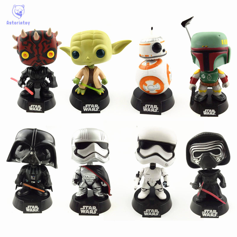 NEW 10cm Star wars BB-8 Boba fett Yoda Darth vader Captain phasma action figure Bobble Head Q Edition no box for Car Decoration new 1pc darth vader 10cm baby kids childs action figure toy loose xmas