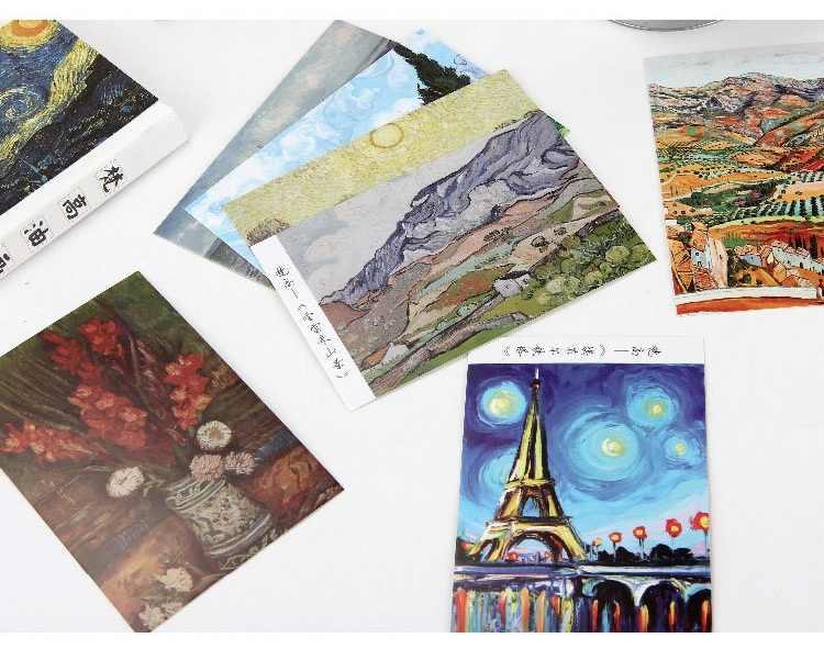 30 Pcs/set Van Gogh Lukisan Minyak Kartu Pos/Kartu Ucapan/Pesan Kartu/Ulang Tahun Amplop Kartu Hadiah Dua ukuran