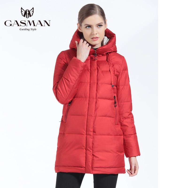 GASMAN 2019 Winter Women Down Jacket Brand Medium Length Female Thick Hooded Down Parka For Women Coat White Women Cloth Winter