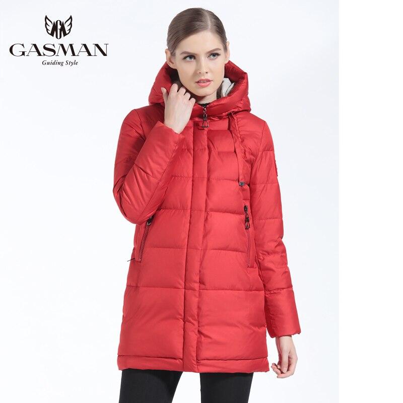 Gasman 2019 inverno mulheres para baixo jaqueta marca de comprimento médio feminino grosso com capuz para baixo parka para as mulheres casaco branco pano inverno