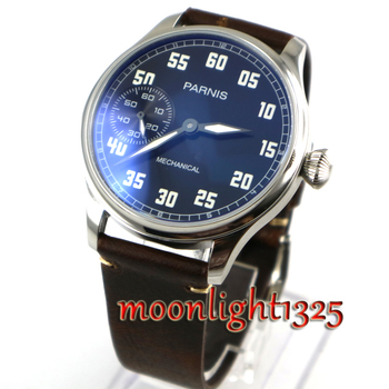 2017 Issue Casual Man Watch Mechanical Hand Winding Watch Leather 44mm Parnis Hand Wind Mechaincal Watch 17 Jewels