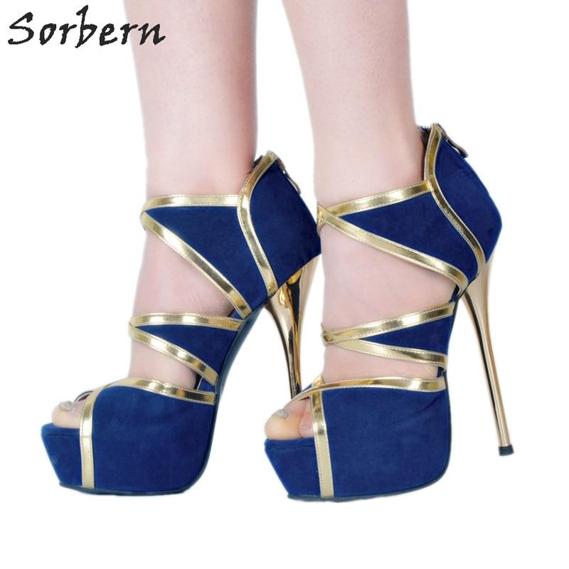 Femmes Dames Plus Chaussures Hauts Retour Bout Sorbern Color Taille La Sandales Haute Diy Bleu Talons Royal forme custom Couleurs Zipper À Plate Ouvert 12 Bleu wAqX61