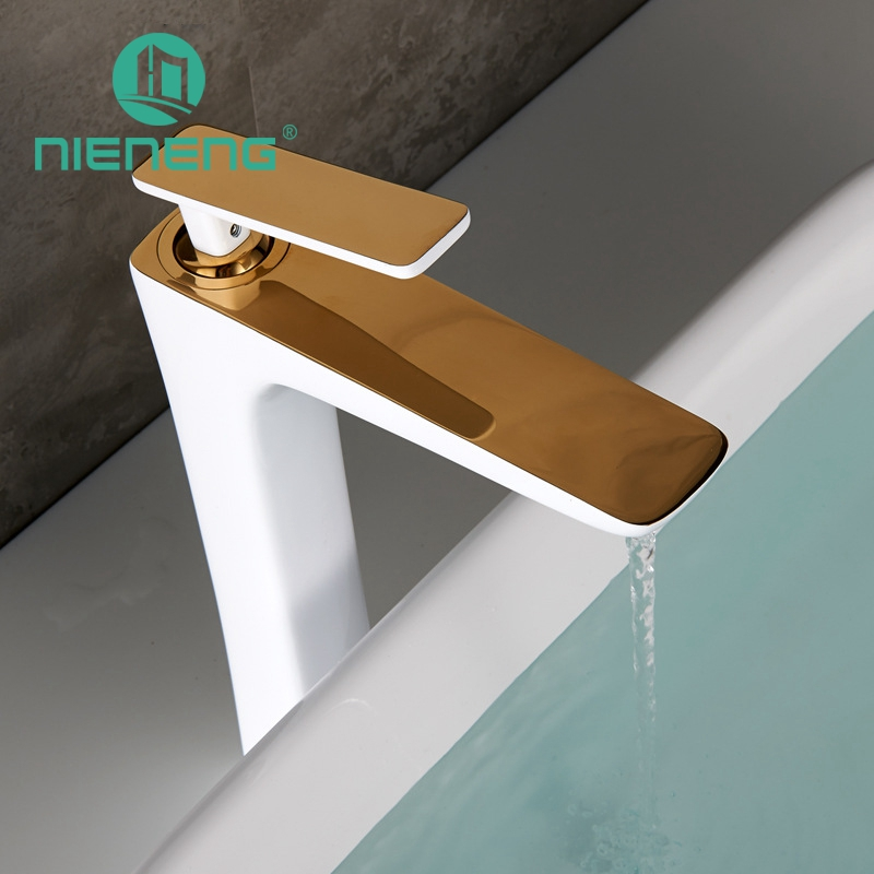 Nieneng Bathroom Basin Faucet Golden Vanity Sink Furniture Sinks Brass Mixer Tap Modern Bathroom Faucet Tools ICD60351 цена 2017