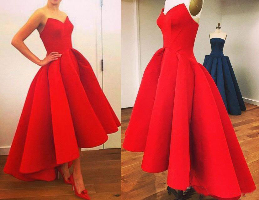 bfe1c97c2aa New Arrival Red Vintage Hi-Lo Prom Dresses With Sweetheart Neck Tea length  Puffy Skirt Party Evening Ball Gowns Wear Custom Made