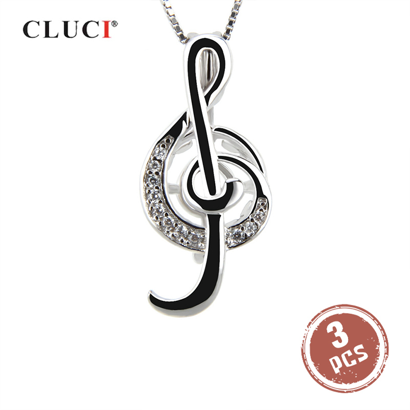 CLUCI 3pcs Silver 925 Musical Symbol Treble Clef Shape Pearl Cage Pendant 925 Sterling Silver Charms Pendant Women Jewelry