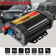 Inwerter 12V 110V 2000W Peaks Auto zmodyfikowana fala sinusoidalna 1000W transformator napięcia przetwornica mocy konwerter ładowania samochodu USB