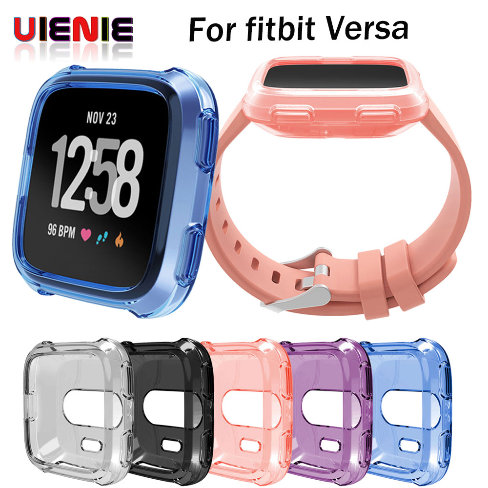 TPU Silicone Cover Case Watch Casing Guard Protector For Fitbit Versa Smart Band activity tracker fitness tracker free Shipping fitbit watch