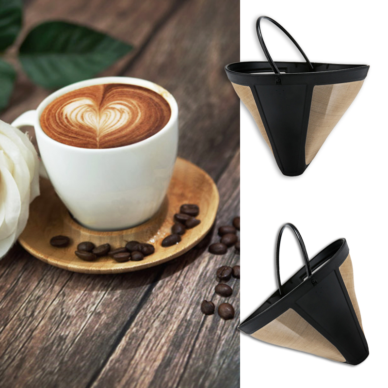 Easy Clean Washable Reusable Permanent Coffee Filter Cone Shape 10-12 Cup Golden PP+ Nylon Fine Mesh Coffee Maker Machine
