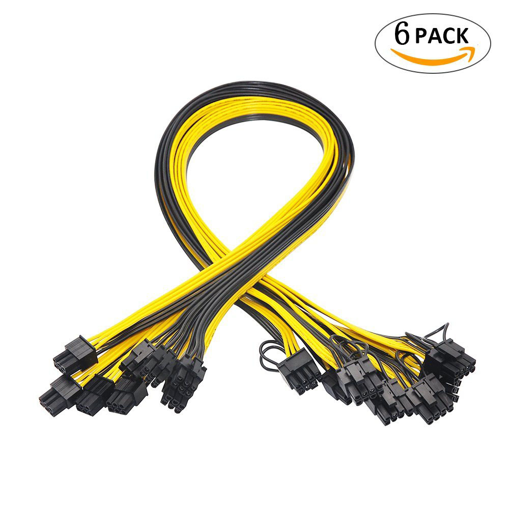 6 Pcs 6 Pin PCI-e To 8 Pin (6+2) PCI-e (Male To Male) GPU Power Cable 50cm For Graphic Cards Mining HP Server Breakout Board
