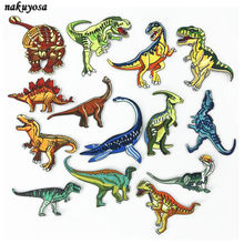 Jurassic period tyrannosaurus Dinosaur Iron On Patches For Clothing Embroidery Applique DIY Hat Coat Dress Pants Accessories(China)