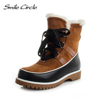 Smile Circle Women Winter Boots Mujer Botas Waterproof Genuine Leather Snow Boots Women Ankle Boots Wedges