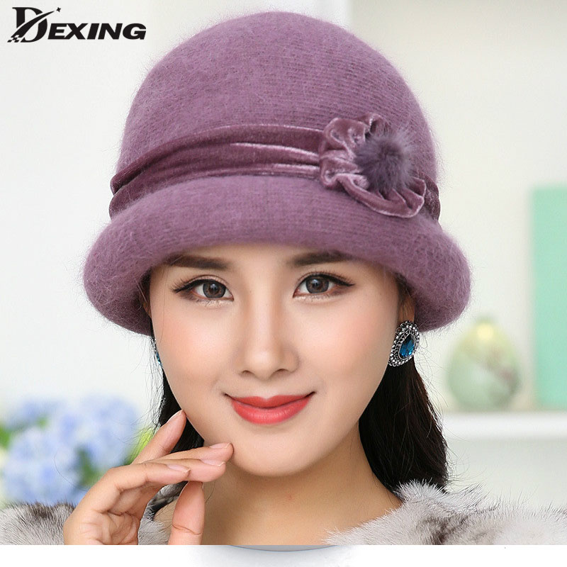 Winter Women Floral Skullies Soft Wool Mixed Rabbit Fur middle-aged mother Hat Warm Knitted Beanies thicked velet Headwear Cap skullies
