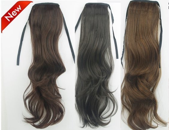 """22"""" 75g New Claw Ponytails loose curls Synthetic hair 3 colors for choice(#1B natural black,#2t33 deep brown,#2t30 light brown)"""