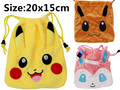 Pokemon Smile Pikachu Ball Draw String Backpack Sling Shoulder Case Bag Cinch Sack Purse 20x15cm