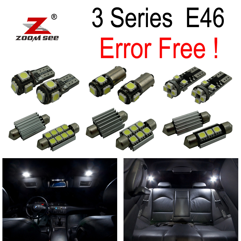 18pcs LED Bulb Interior Light Kit for BMW E46 M3 318i 318ti 323i 323is 325i 325xi 328i 330i 330xi 325ci 323ci 328ci 330ci 99-05 for bmw e36 318i 323i 325i 328i m3 carbon fiber headlight eyebrows eyelids 1992 1998