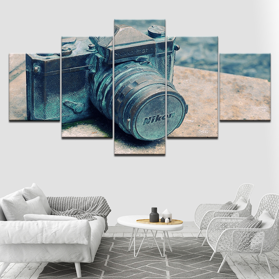 Platno Wall Art Modular Slike 5 kosov staro retro kamero Ozadja Slike - Dekor za dom