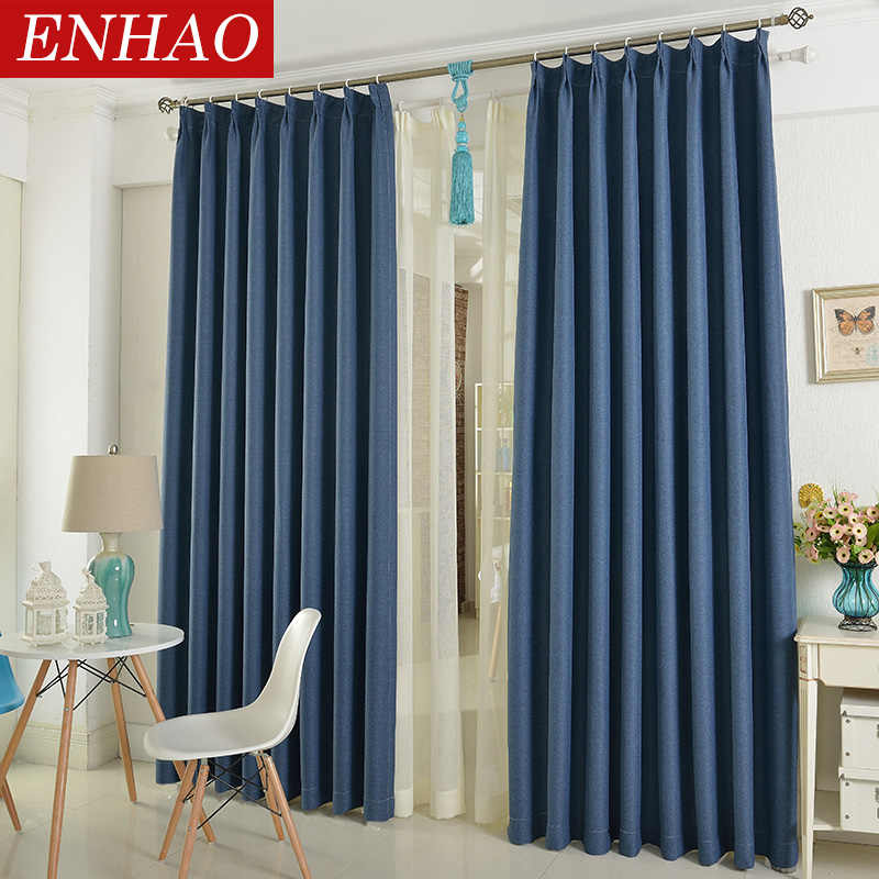 ENHAO Modern Linen Window Curtains for Living Room Bedroom Kitchen Curtains for Solid Thick Blackout Curtains Drapes Home Decor