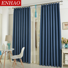 ENHAO Modern Linen Window Curtains for Living Room Bedroom Kitchen Solid Thick Blackout Drapes Home Decor