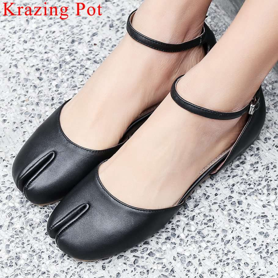 Krazing Pot hand sewn leather hollow sandals buckle strap genuine leather concise preppy style vocation party