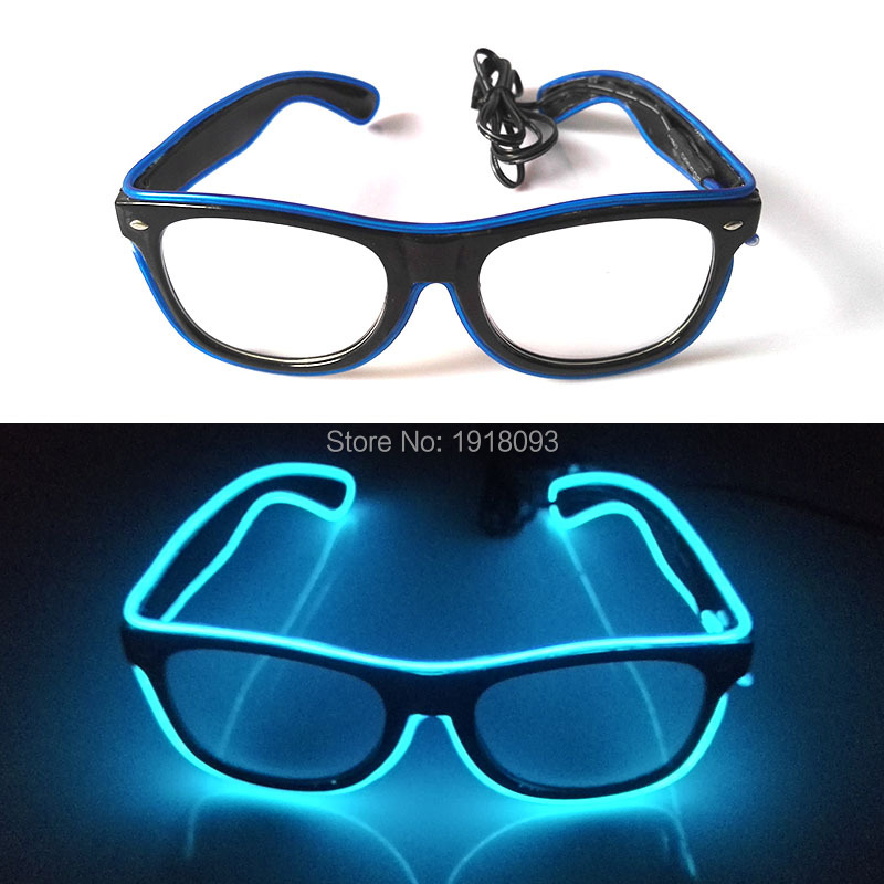 Bright Fashion Color Blue Powered by2-AA batteries EL Wire Glowing Sunglasses EL wire rope cable For Party Lighting Supplies