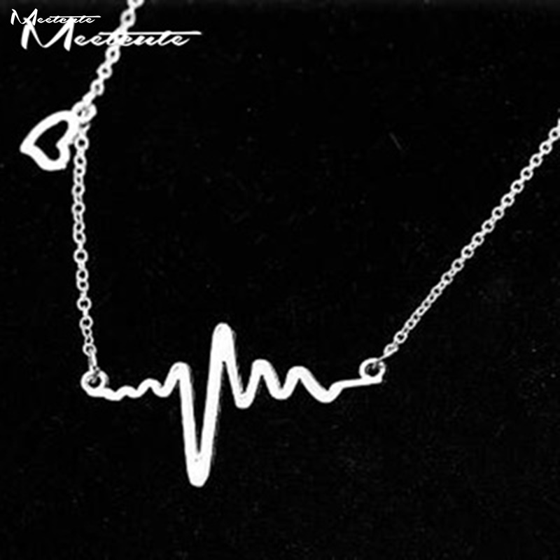 Meetcute Collar Necklace Electrocardiogram Rhythm Heart Beat Charms Necklace Best Gift for Lover 2017 New Fashion Jewelry