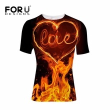 купить FORUDESIGNS LOVE T-shirt Clothing Men t shirts Summer Fire Cool t-shirt Mens Womens Punk Black tshirt Tops XS S M L XL XXL дешево