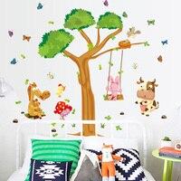 Kindergarten Children Room Rabbit Small Animals The Tree Swing Cartoon Wall Sticker Background Wall Decorative Stickers