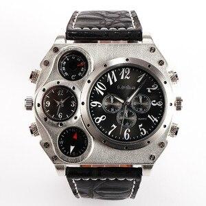 Image 3 - Oulm 1349 Reloj Hombre Mannen Dual Beweging Sport Militaire Horloge Met Kompas Thermometer Decoratie Mannelijke Klok Relogio Masculino