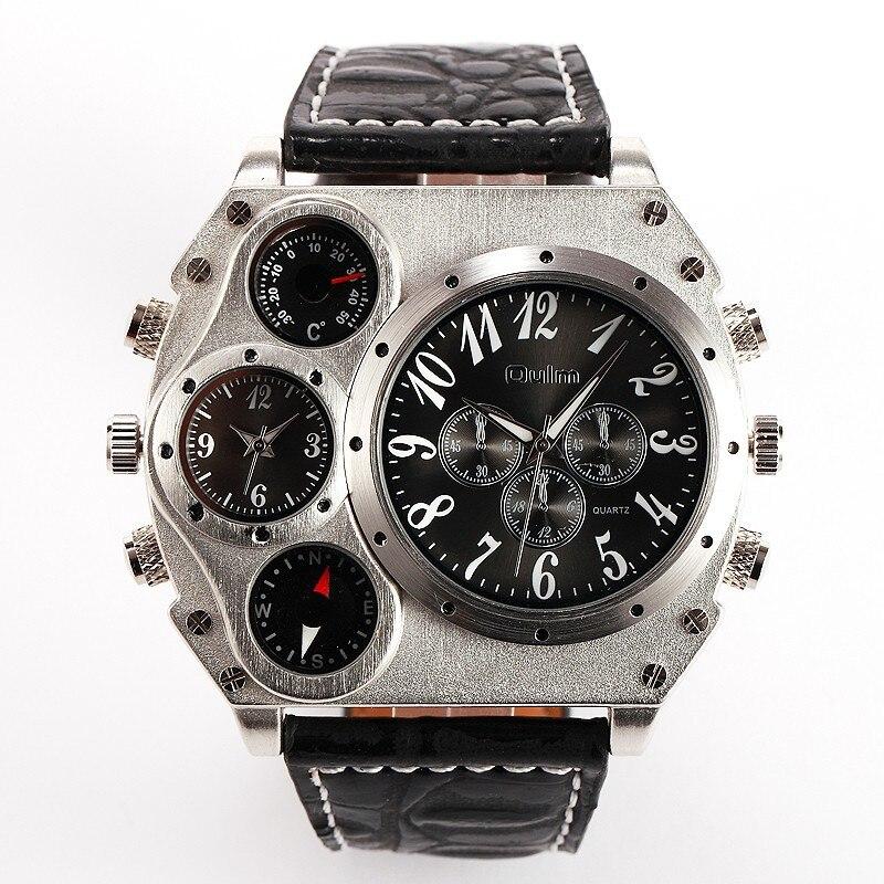 Image 3 - Oulm 1349 Reloj Hombre mężczyźni podwójny ruch sportowy zegarek wojskowy z kompas termometr dekoracji mężczyzna zegar Relogio Masculino w Zegarki cyfrowe od Zegarki na