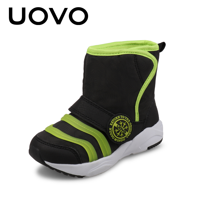 UOVO NEW 2017 Winter Baby Children Shoes Warm & Comfortable Girls Snow Boots Fashion Casual Outdoor Boys Short Boots Size 24-31 uovo 2017 new kids shoes fashion children rubber boots for girls boys high quality warm winter children snow boots size 33 38