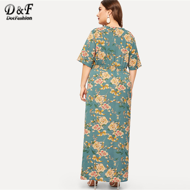 Dotfashion Plus Size Green Floral Print Split Dress Women 2019 Boho Summer V Neck Half Sleeve A Line High Waist Maxi Dresses 1