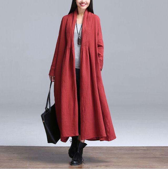 Плащ для женщин красный синий черный цвет свободного покроя женщин плащ длиной пиджаки свободная одежда для леди высокое качество