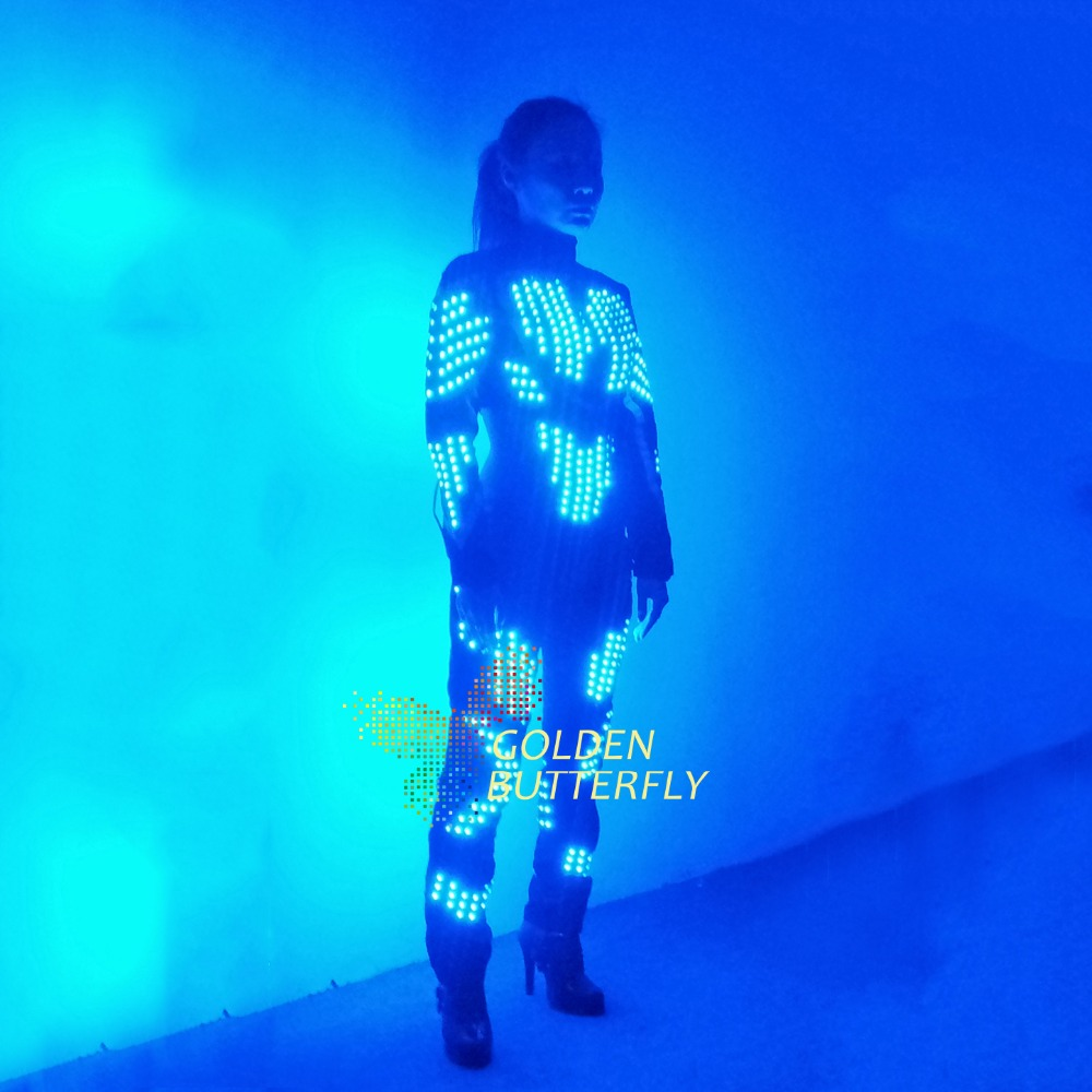 LED Clothing Women Luminous Costumes Glowing LED Suits 2017 Hot Fashion Show Lady LED Pants Dance Accessories Free Shipping