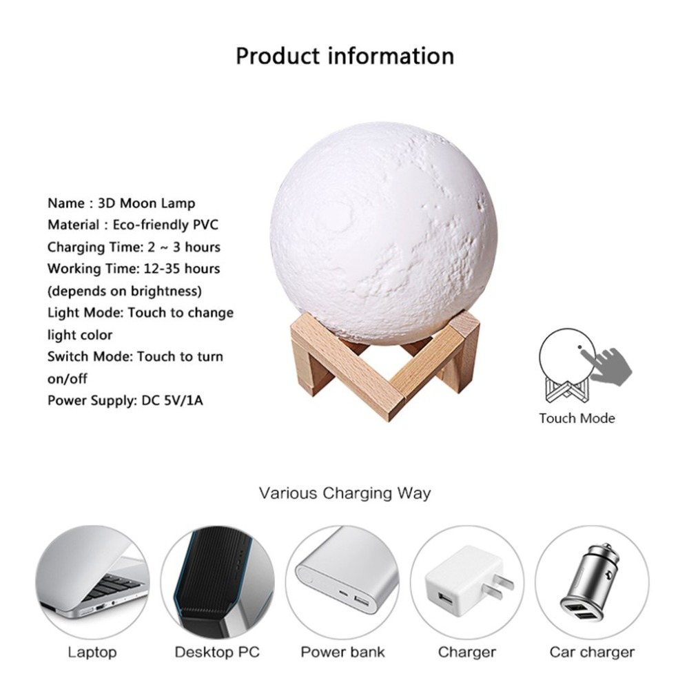 Rechargeable 3D Print Moon Lamp Usb Light Touch Switch Bedroom Bookcase Gadget Home Decoration Intelligent Charging USB Gadget 2