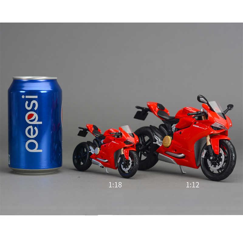 Alloy Diecast Sepeda Motor Ducati 1199 Model Balap Jalan Lokomotif dengan Dasar 1:18 Skala Anak Koleksi Dekorasi Mainan