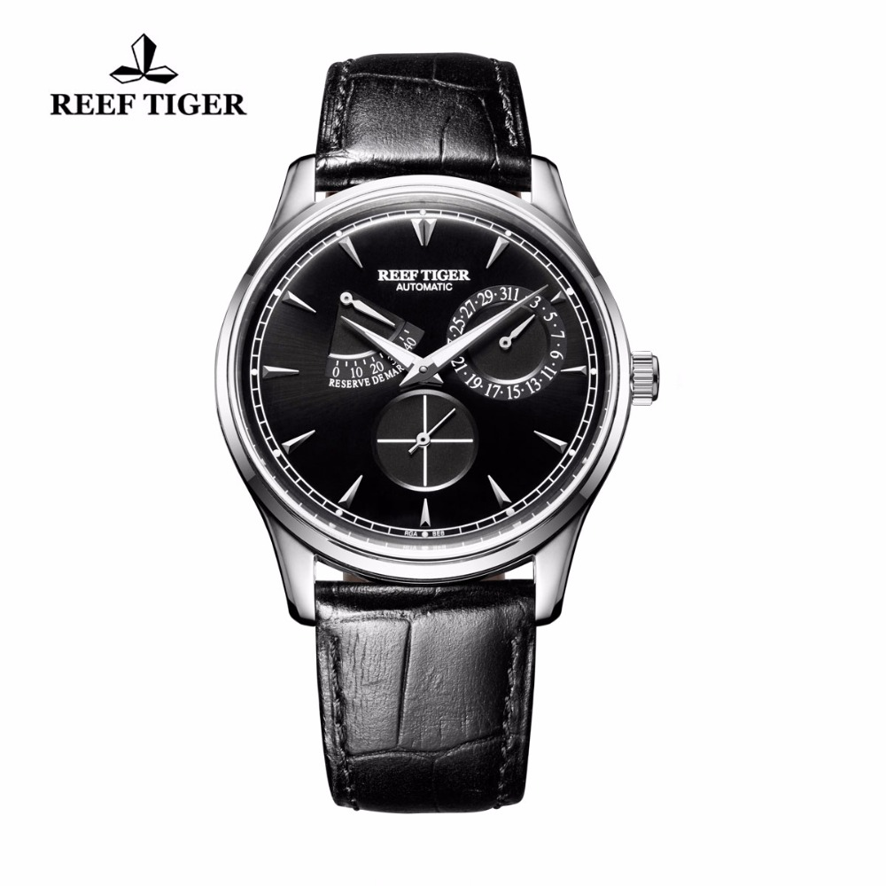 Reef Tiger/RT Classic Elegant Automatic Watches Mens Power Reserve Calendar Small Seconds Steel Watches RGA1980 reef tiger rt mens elegant automatic watches with power reserve complete calendar rose gold watch rga1980