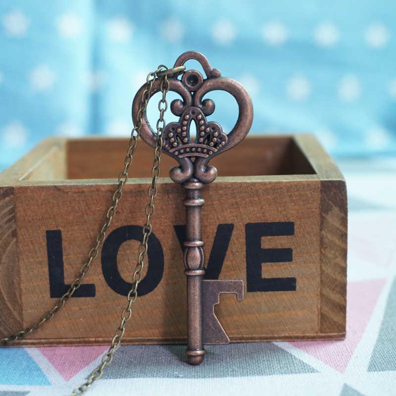 Красное бронзовое Ретро винтажное ожерелье с подвеской в виде большого сердца для женщин и мужчин, модные длинные ювелирные изделия, колье, ожерелье, подарки для друзей