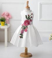 2016 New Retail New Style Summer Baby Girl Print Flower Girl Dress For Wedding Girls Party