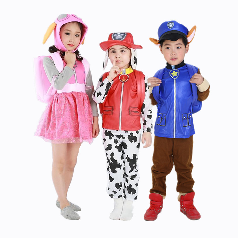 New Patrol Dogs Marshall Chase Skye Cosplay Costume Kids Boys Girls Children Ryder Halloween Party Role Play