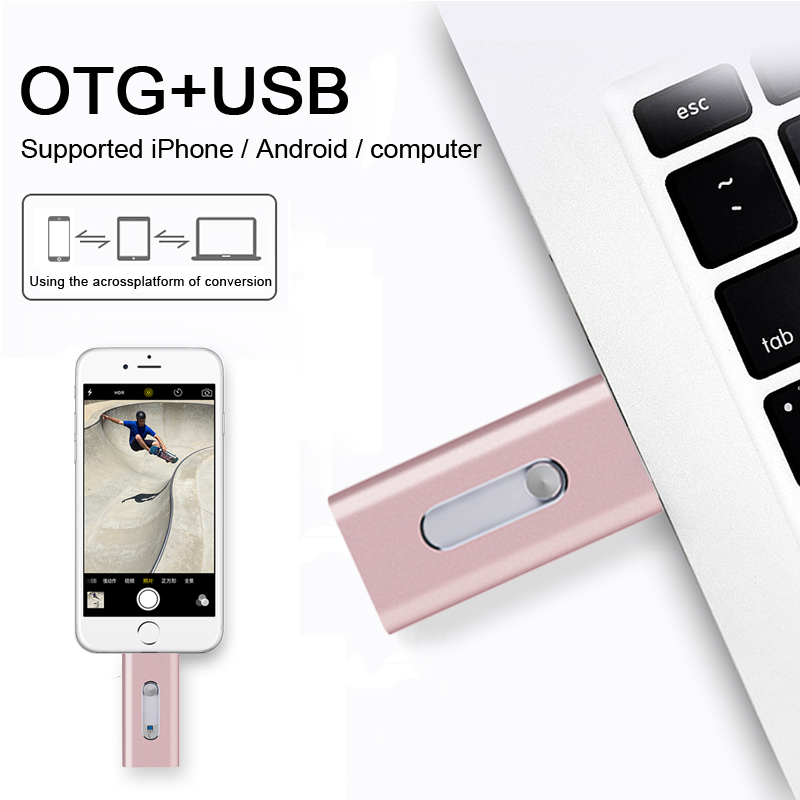 Nuevo estilo USB Flash Drive para iPhone 7 7 más 6 5 5S ipad Android Metal OTG USB Flash Drive 8 GB 32 GB 64 GB Pendrive