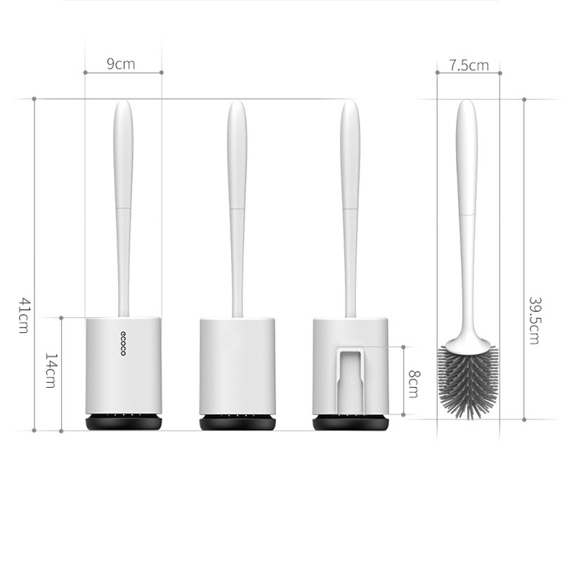 Toilet Brush and Holder Soft Silicone Brush with Quick Drying Holder Set