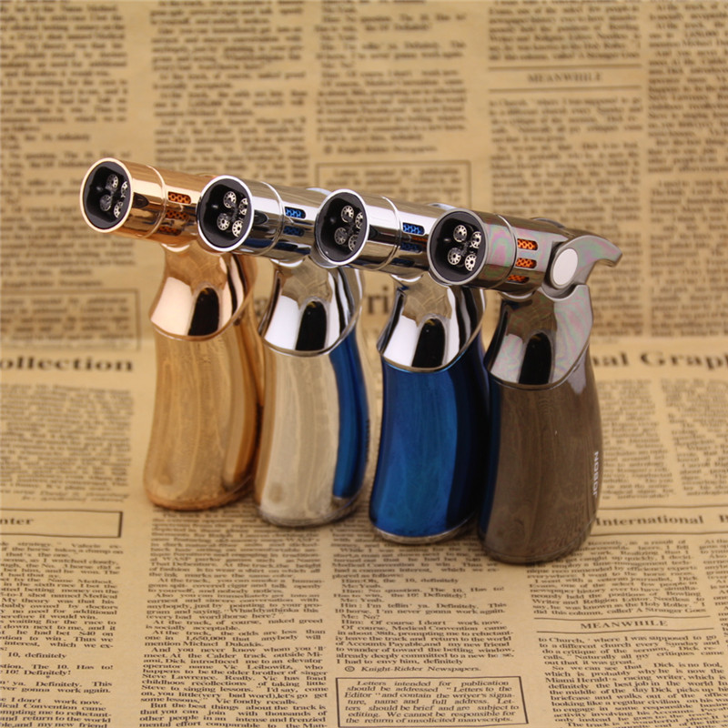 4 Jet Turbo Torch Full Metal Butane Gas Lighters,Cigar Cigarette Lighter,can Cigarette...