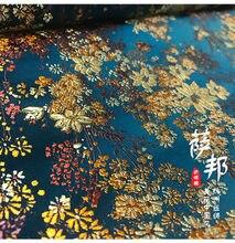 Ciano ouro flores de cetim tecido imite seda Tecido Brocado Jacquard Damasco Traje Vestuário Estofamento Mobiliário 72*50 tissu cm