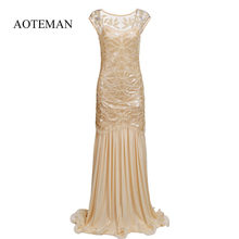 AOTEMAN Summer Dress Women Fashion Sexy Vintage Sequined Mesh Long Dress Elegant Female Party Club Dresses Vestidos Plus Size(China)
