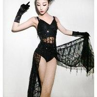 2018 Black Jazz Dance Costumes For Lady Red Women Bar Dj Dancers Stage Hip hop Clothing Sexy Show Original Singer Dress I292